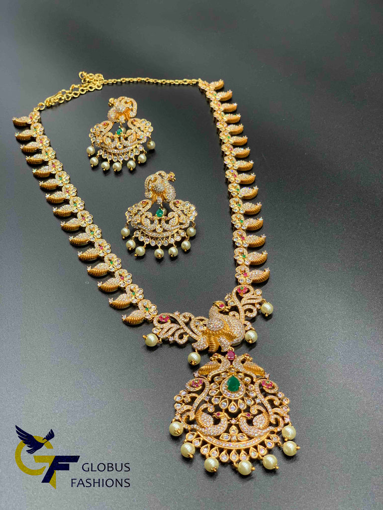 Traditional mango design with Peacock design Multicolore stones long necklace set