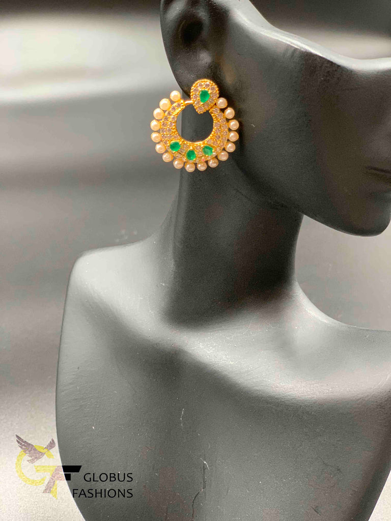 Cz stones and emerald stones with pearls chandbali earrings