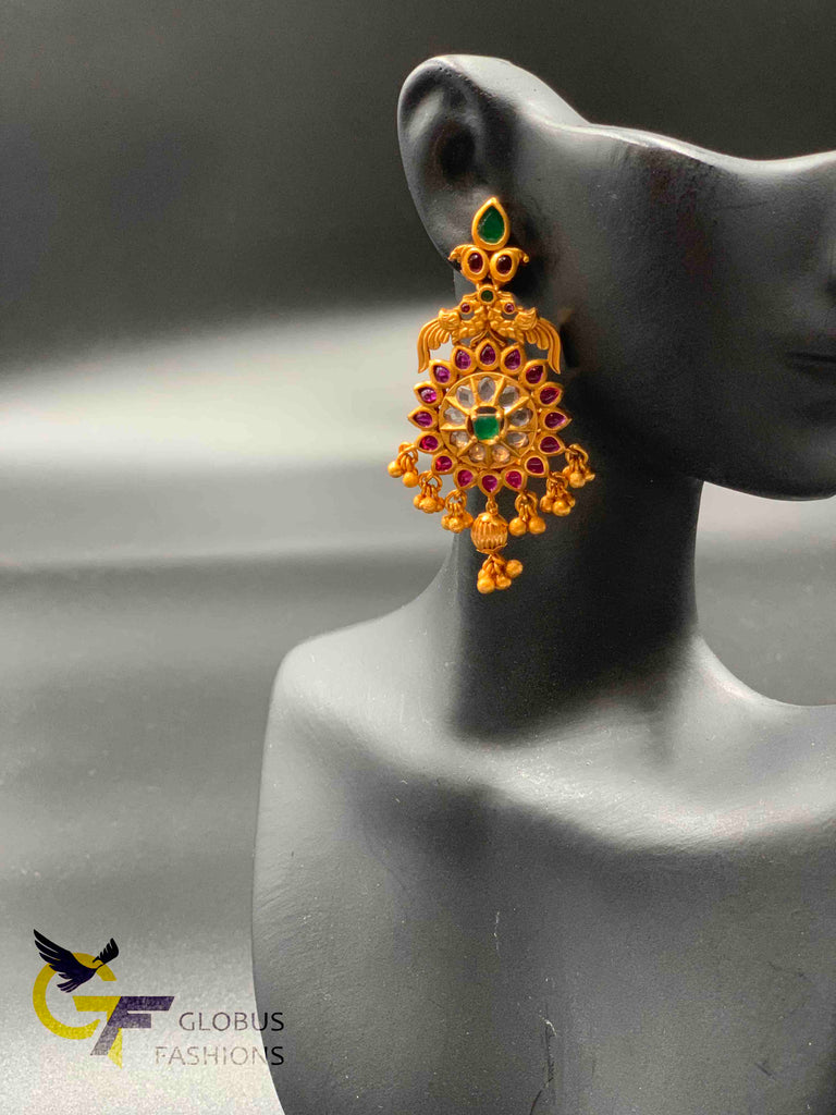 Traditional and antique look multicolor stones earrings