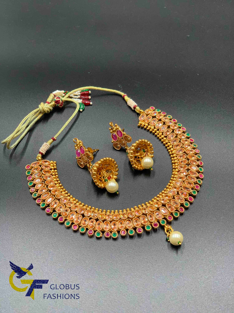 Cute polki stones with multicolor stones necklace set
