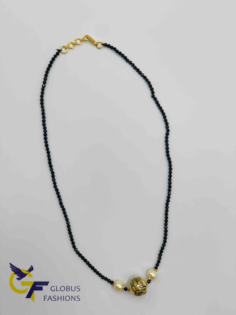 Single line black diamond beads chain with hand painted enamel pearl