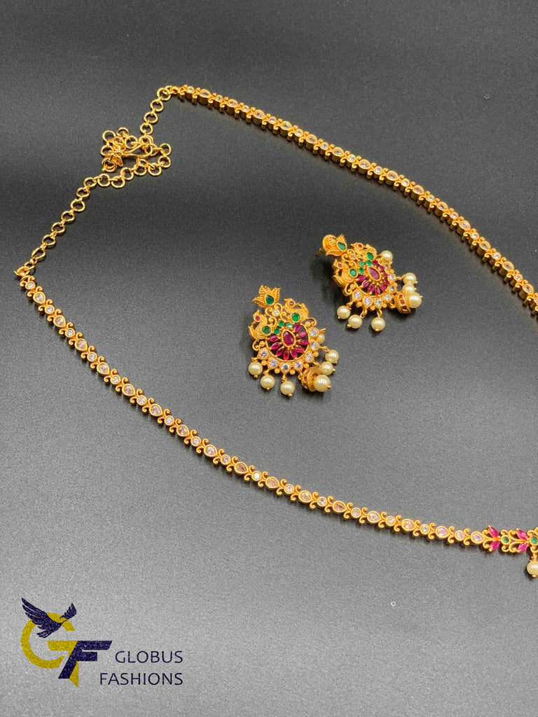 Antique look multicolor stones flower design long necklace set