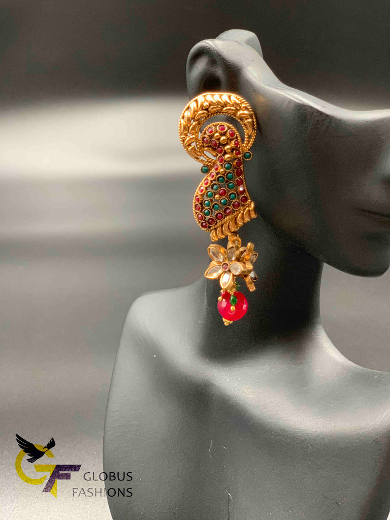 Traditional look multicolor stones peacock design earrings