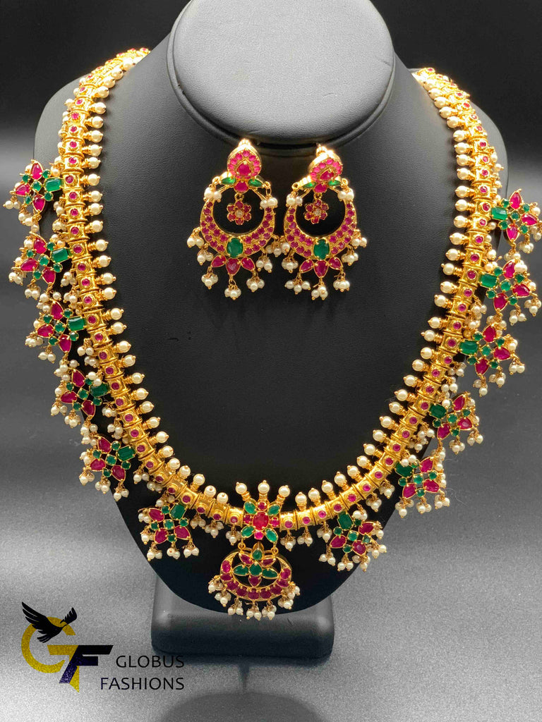 Multicolor stones with pearls gutta pusalu long necklace set