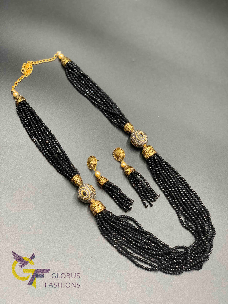 Full crystal black beads chain