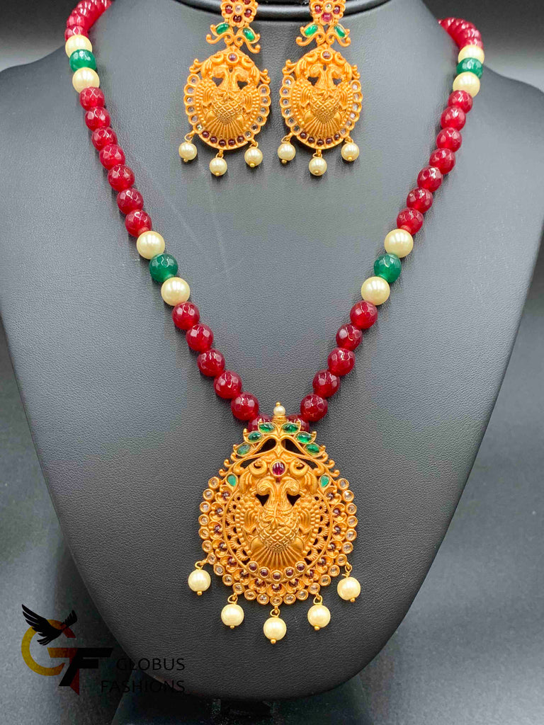 Pure ruby beads with traditional antique pendant and earrings set