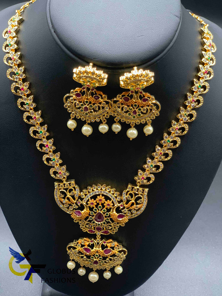 Multicolor stones peacock design necklace set
