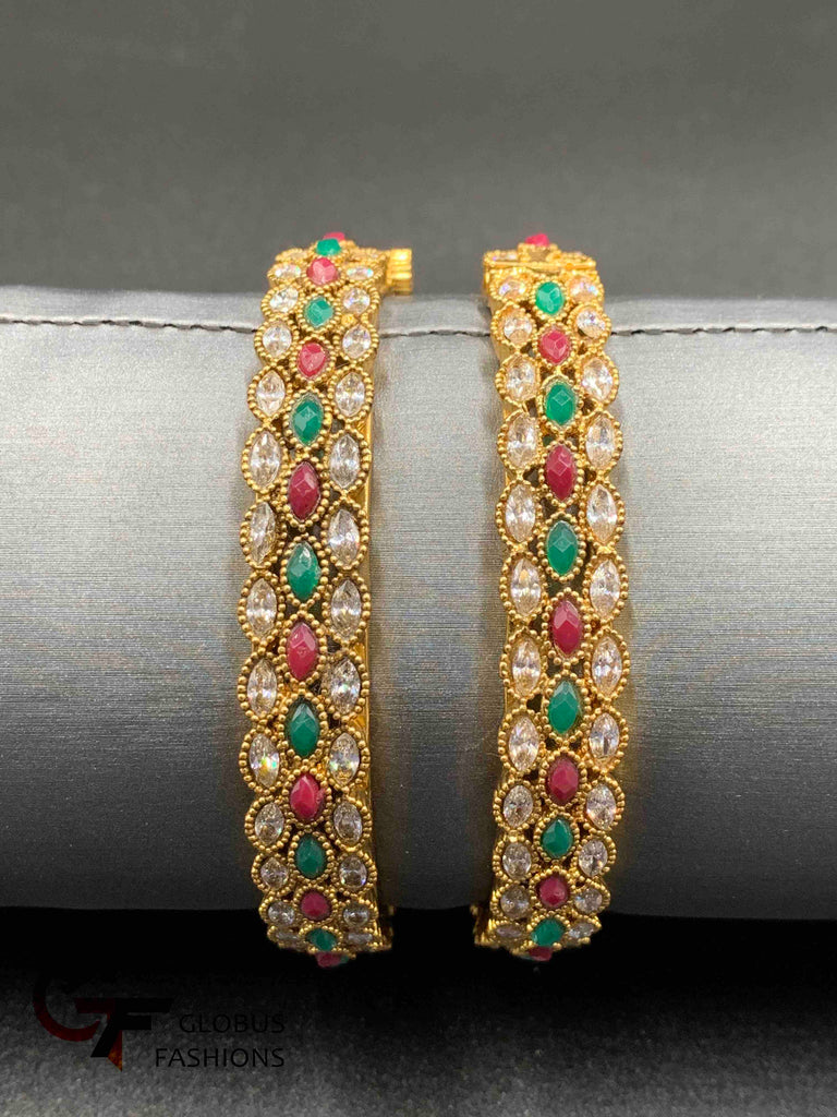 Traditional look kundan stones with multicolor stones kada bangles