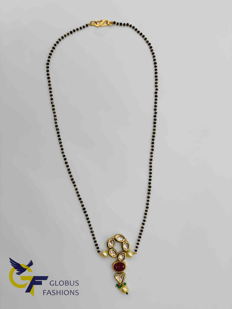 Real Kundan stones pendant with a single line black diamond beads chain