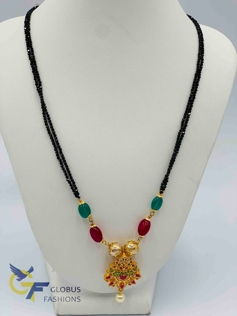 Beautiful multicolor stones peacock design with black diamond beads chain