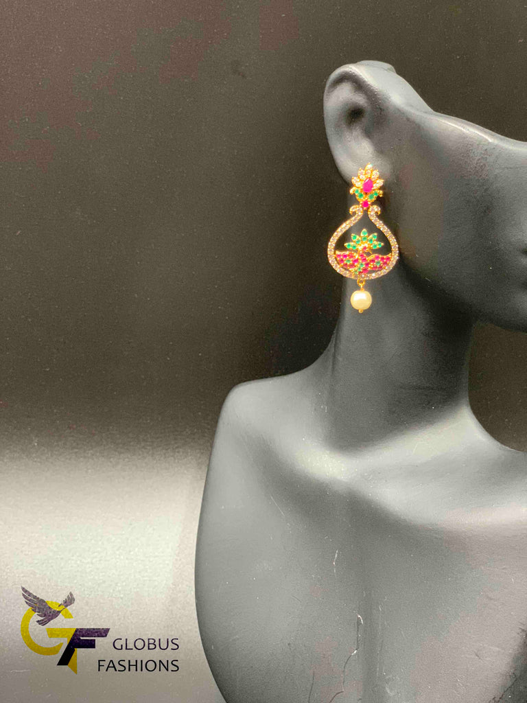 Cute multicolor stones with pearls chandbali earrings