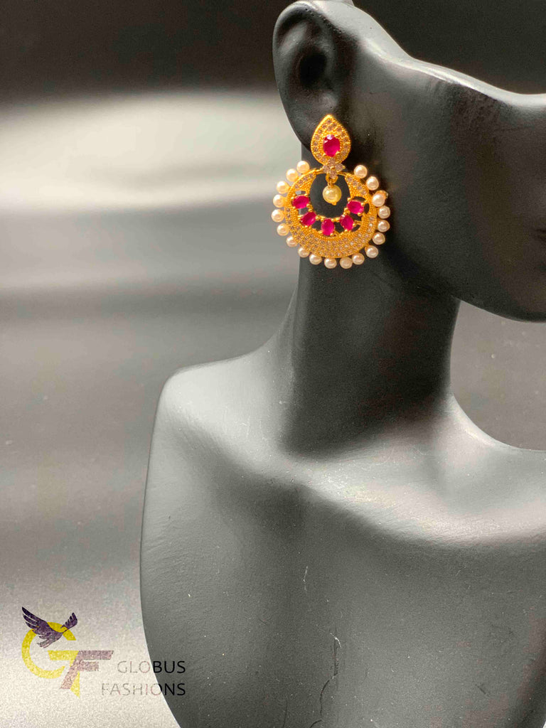 Small cz stones and ruby stones with pearls chandbali earrings