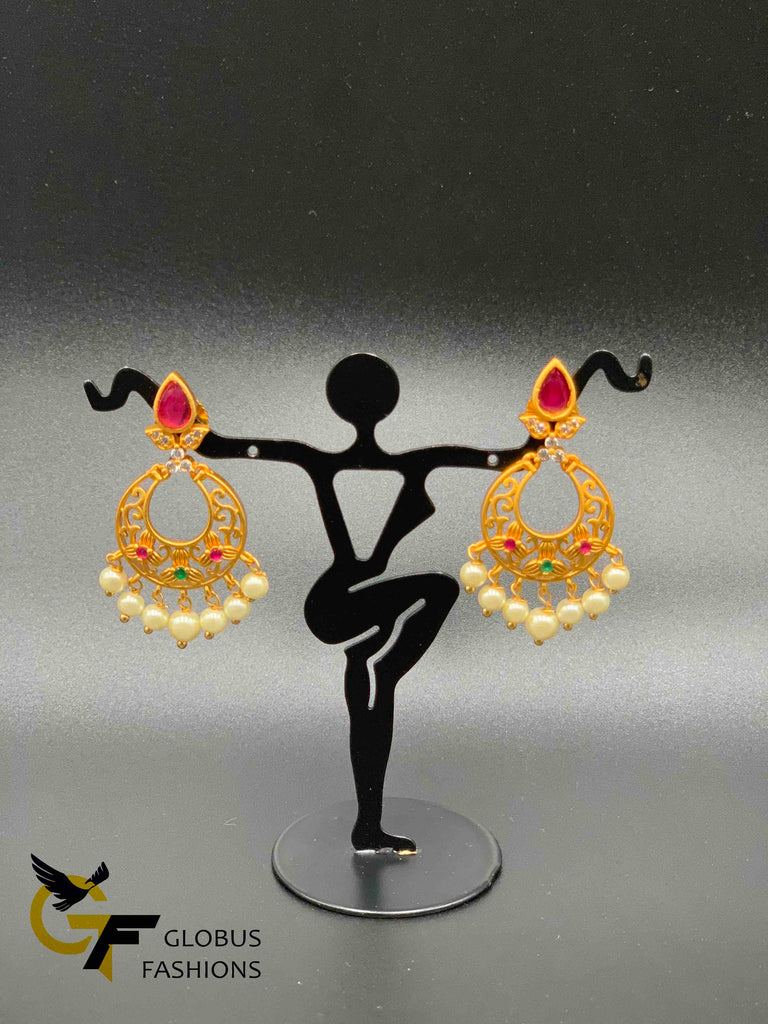 Simple design Sapphire and ruby stones with pearls chandbali earrings