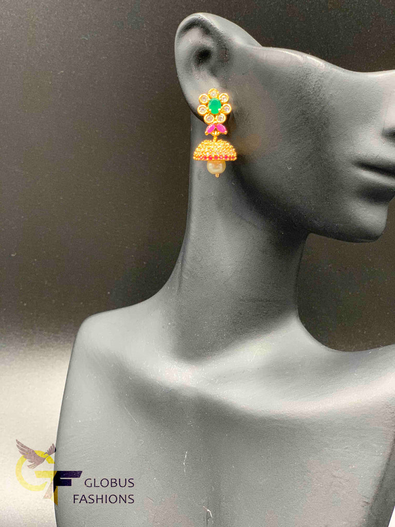 Cute multicolor stones with pearls small jumka earrings