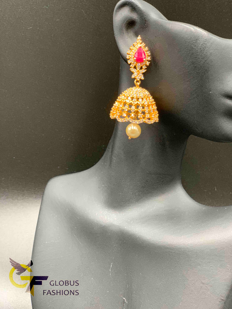 Cz stones and ruby stones with pearls jumka earrings