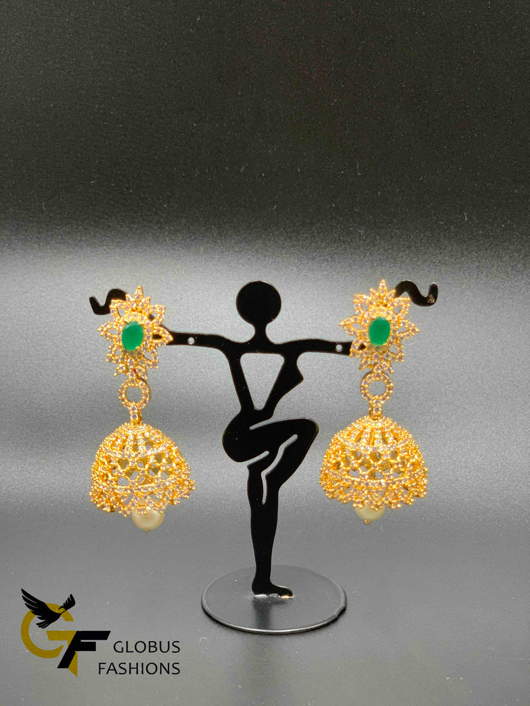 Cz stones and emerald stones with pearls hanging jumka earrings