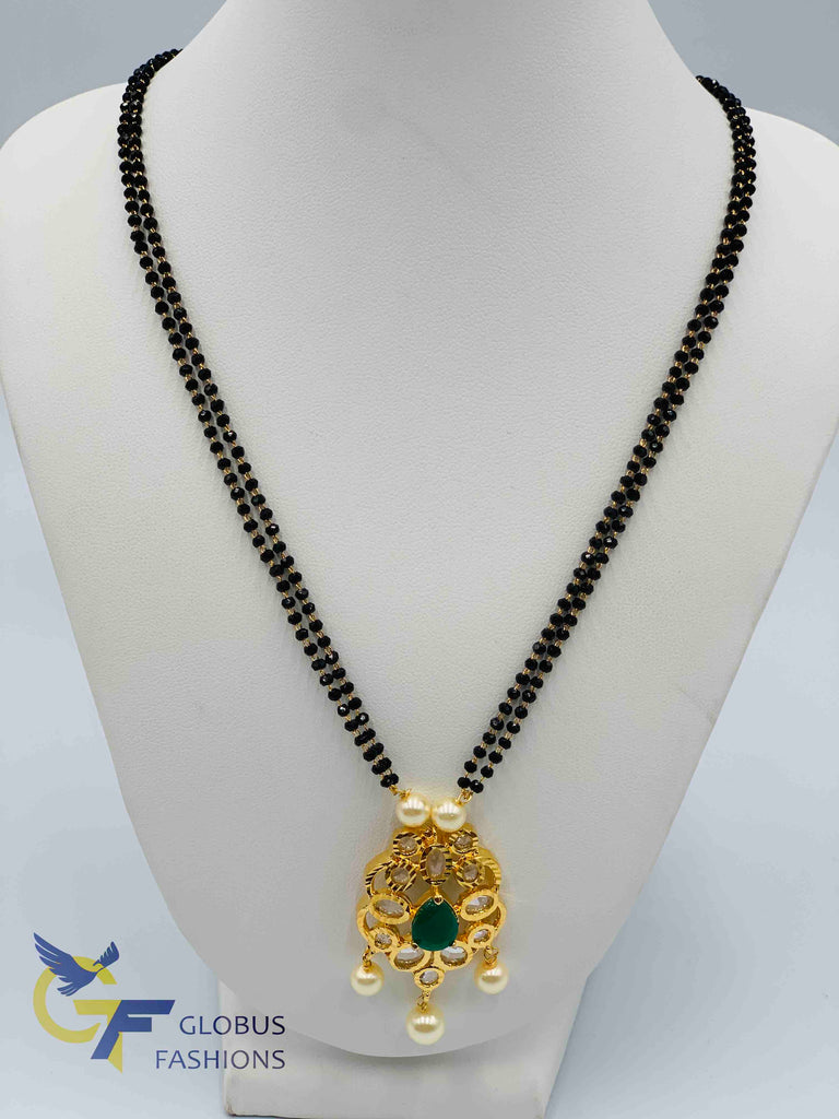 Uncut cz stones and emerald stones pendant with double line black diamond beads chain