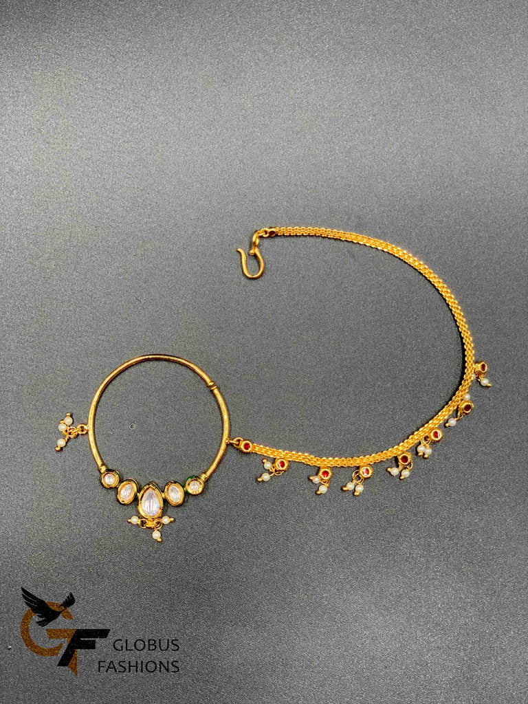 Kundan stones nose ring with plain gold chain with pearls