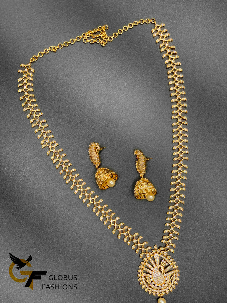 Cz stones peacock design long necklace with matching jumka earrings