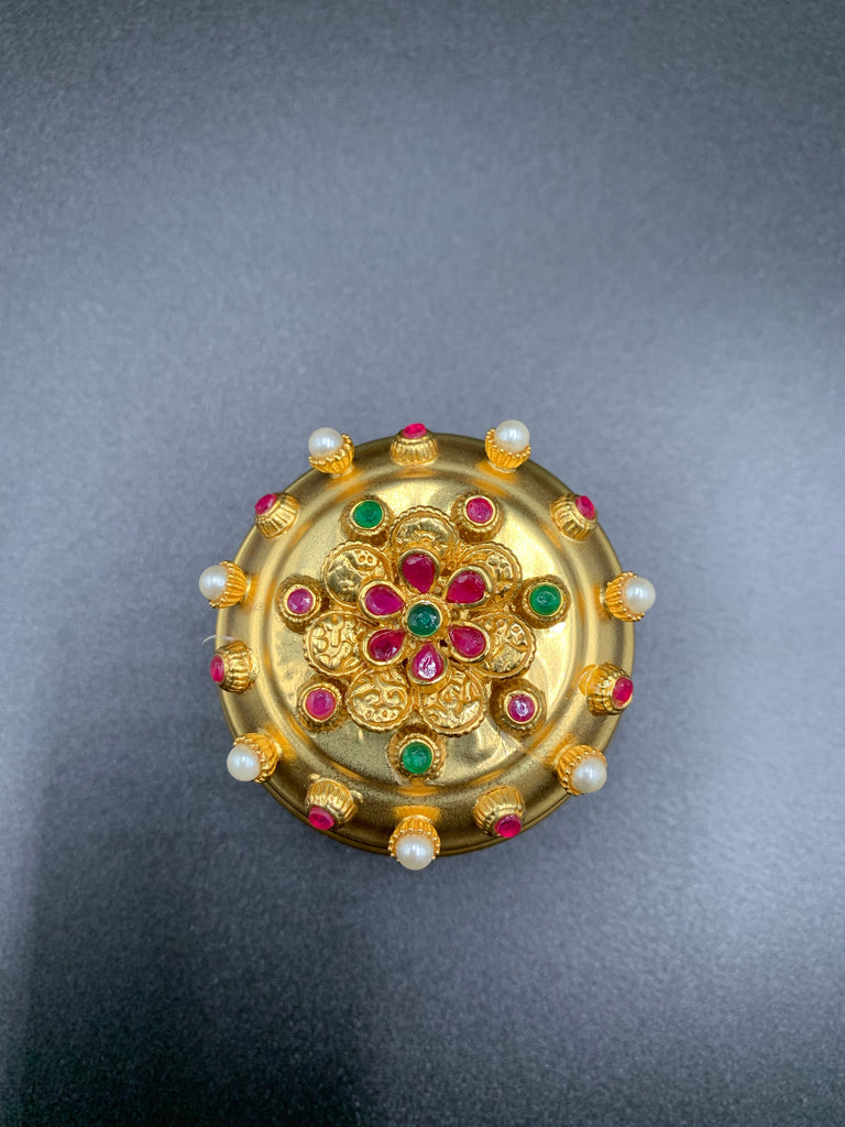 Beautiful multicolor stones with pearls cute kumkum and turmeric box