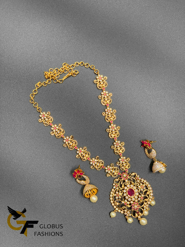 Simple flower design cz stones with ruby stones necklace set
