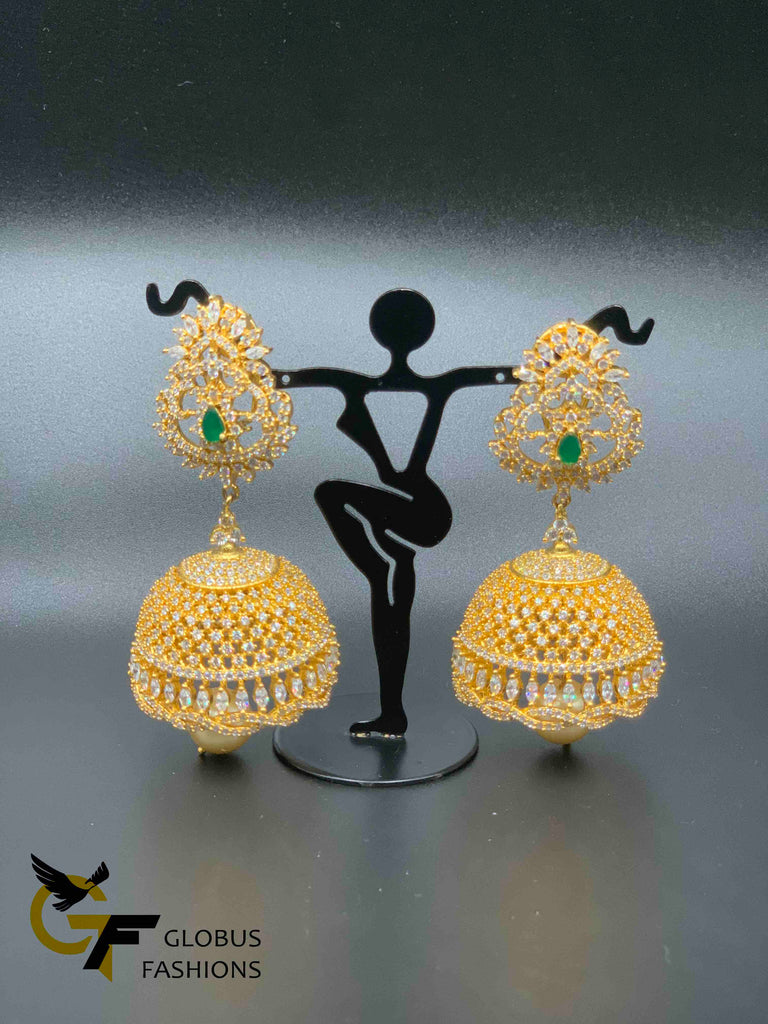 Cz stones with emerald stones big size jumka earrings