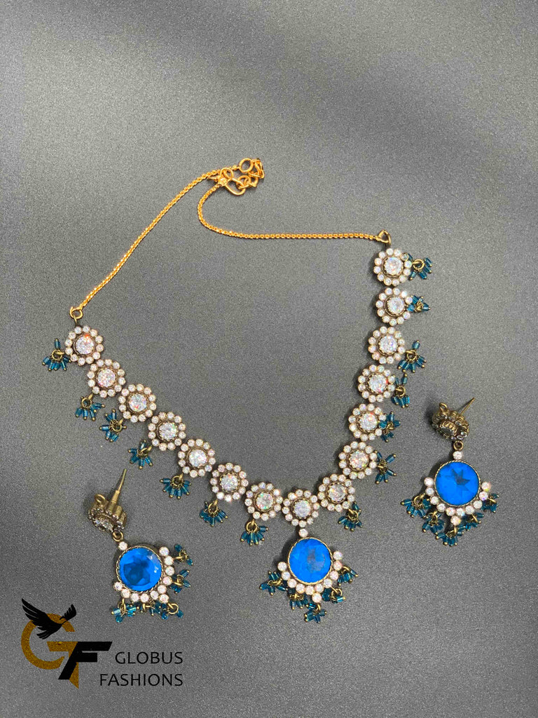 Beautiful cz stones and blue color stones Victorian necklace set