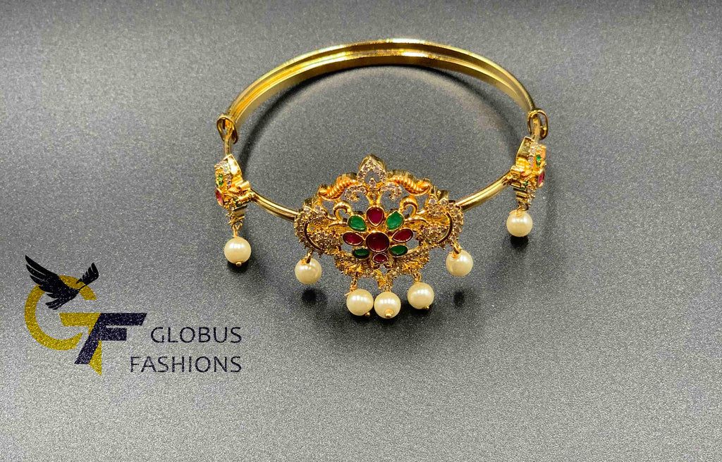 Multicolor stones with pearls flower design bangle type bajubund