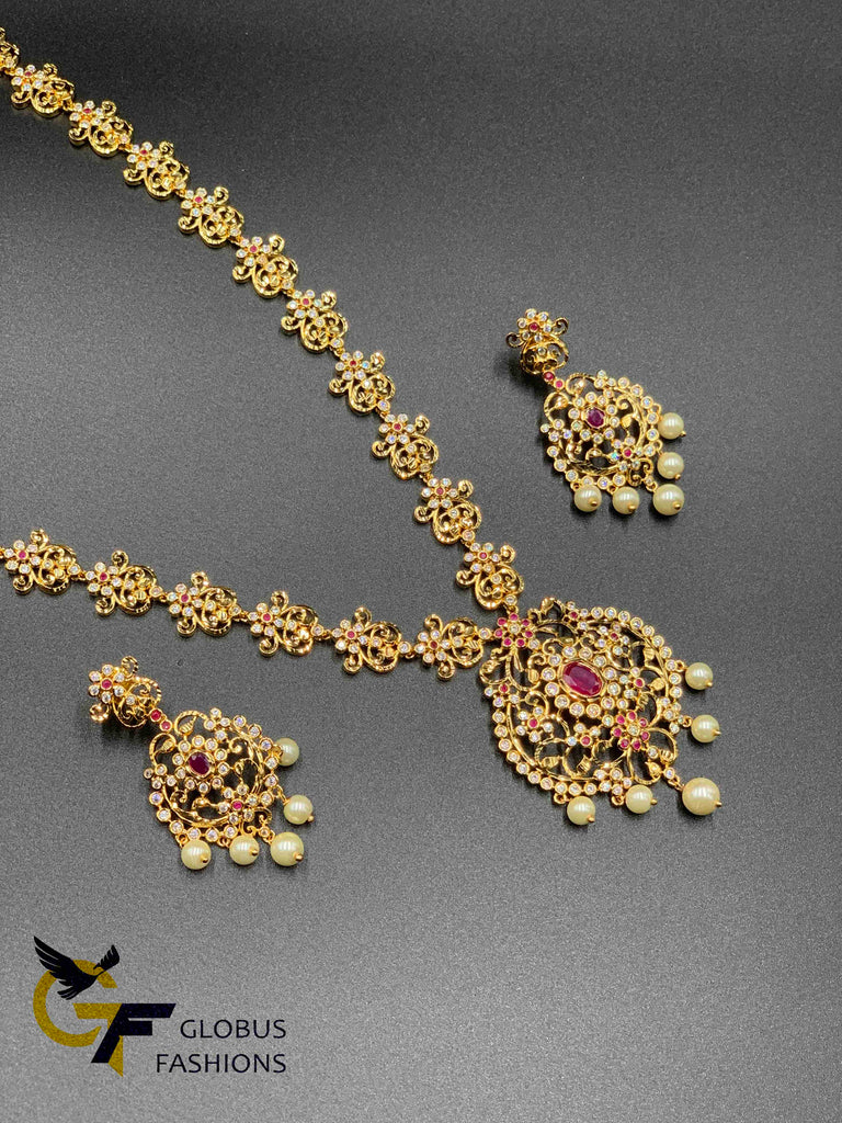 Uncut cz stones with ruby stones long necklace set