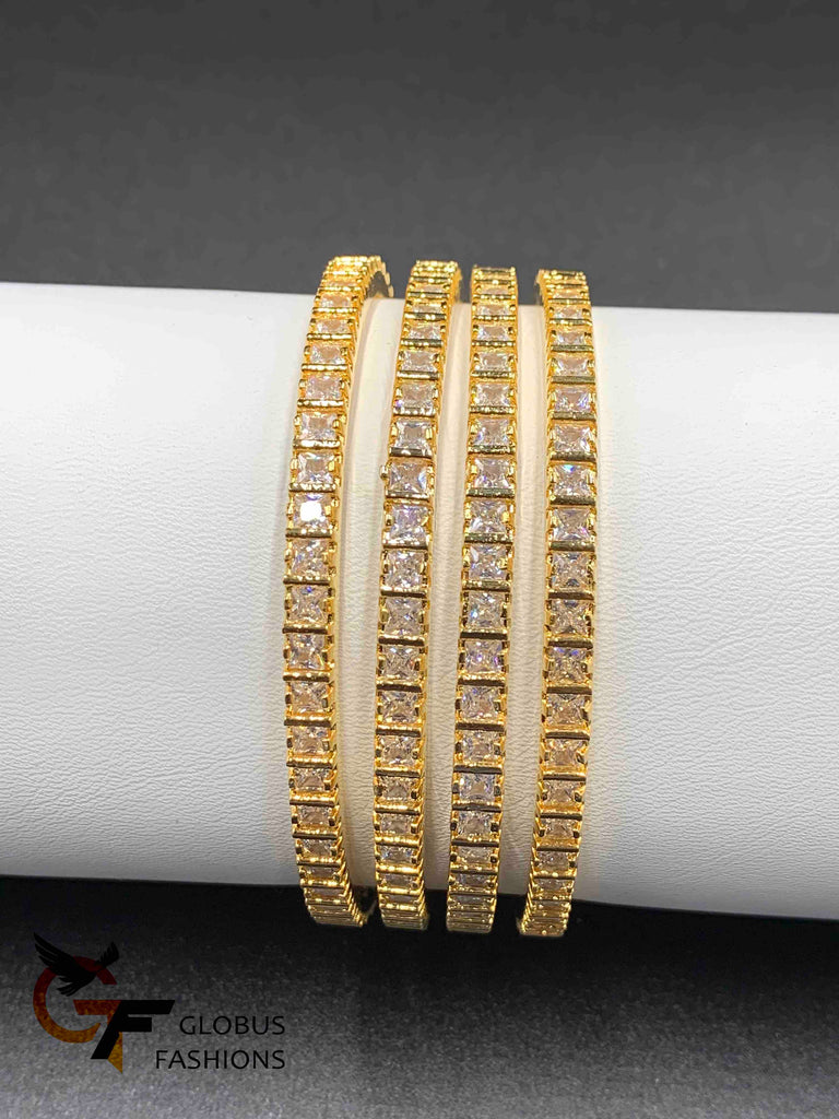 Square shape cz stones set of four bangles