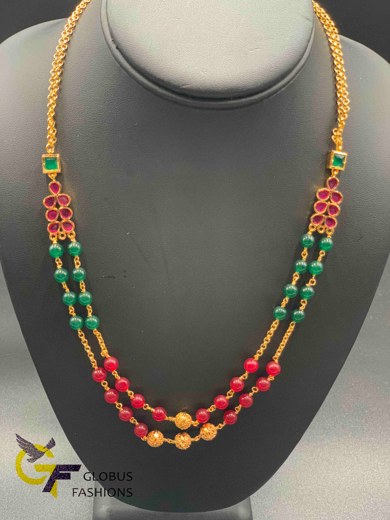 Elegant multicolor beads with ruby stones double string chain