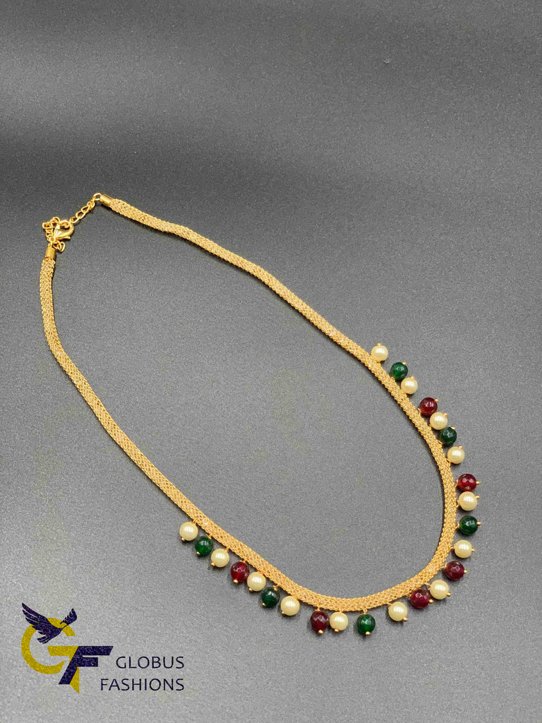 Multicolor beads with pearls netted crystal chain