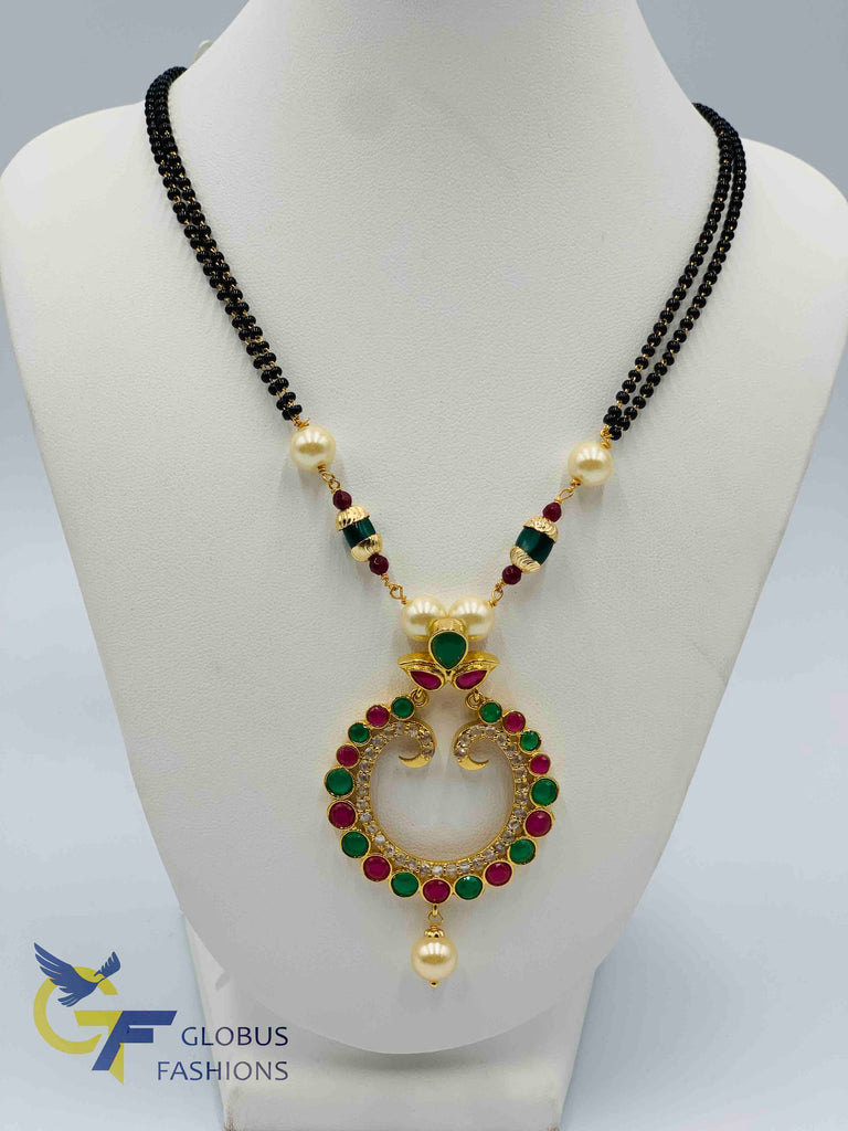 Beautiful traditional multicolor stones with uncut cz stones black beads chain