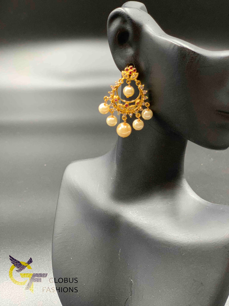 Simple flower design ruby and cz stones with pearls chandbali earrings