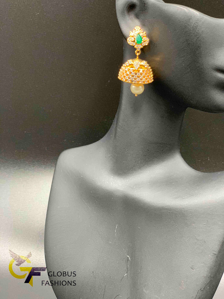 Cz stones and emeralds and multicolor stones jumka earrings