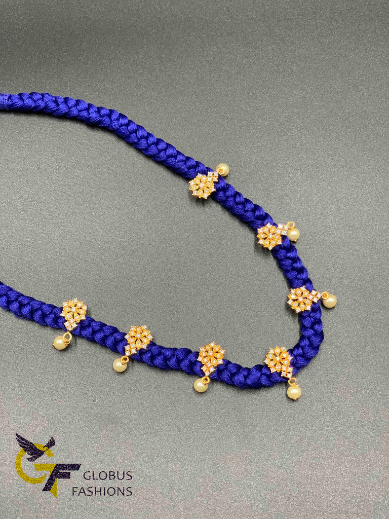Nice silk thread braided chain with cz stones small pendants