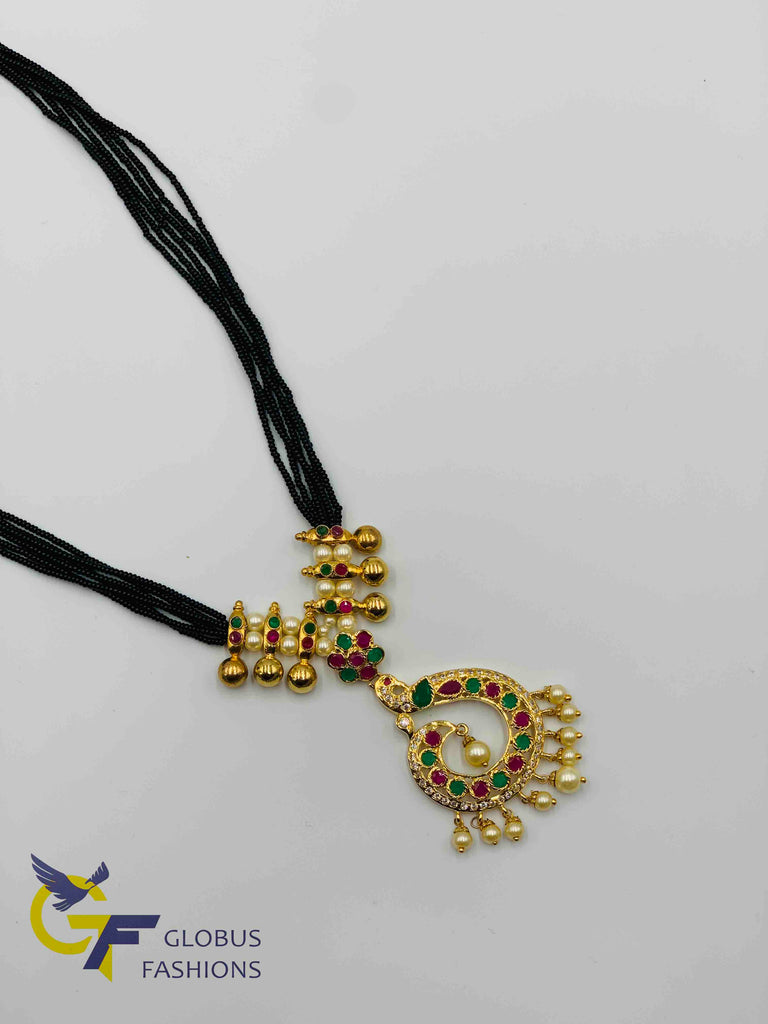 Bunch of small black beads chains with multicolor stones peacock design pendant
