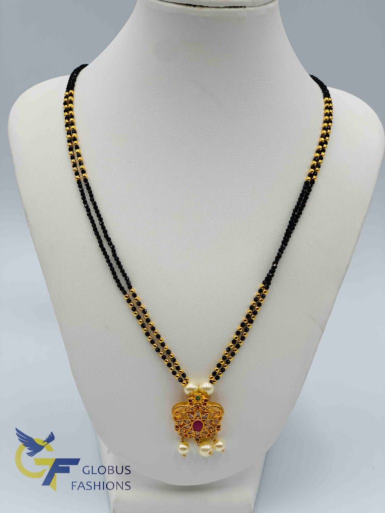 Black diamond beads chain with small multicolor stones pendant