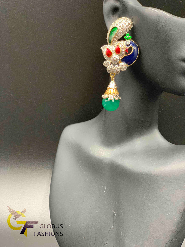 Peacock design cz stones with green and blue German silver earrings