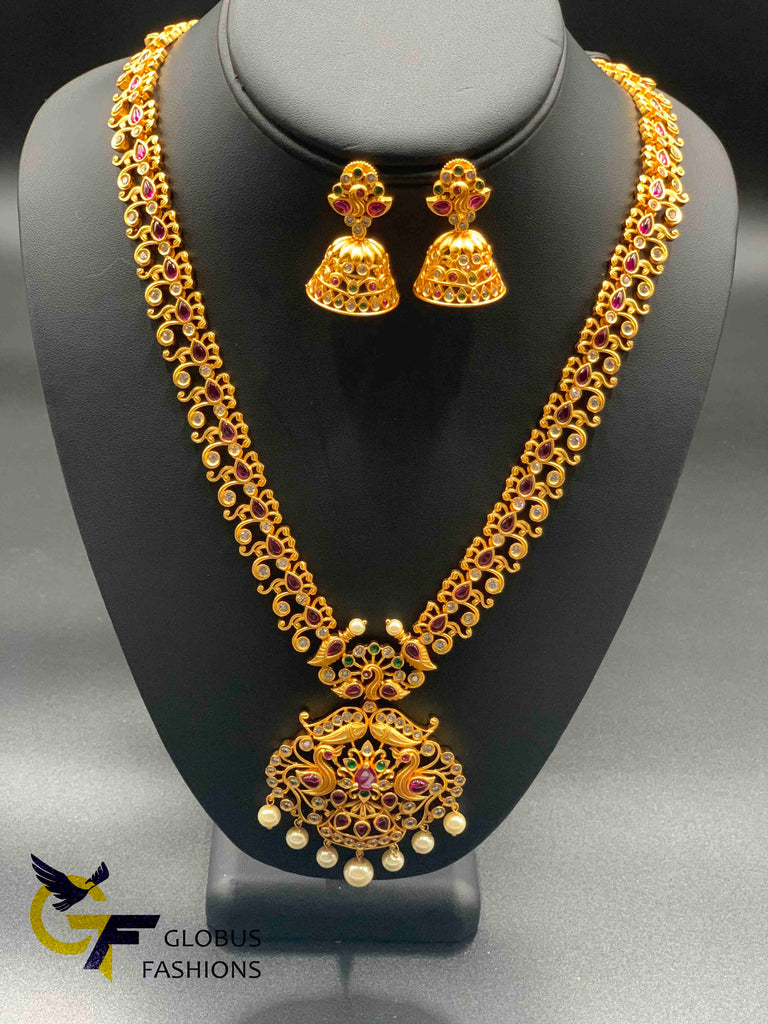 Traditional Ruby and ca stones with pearls antique gold long necklace set