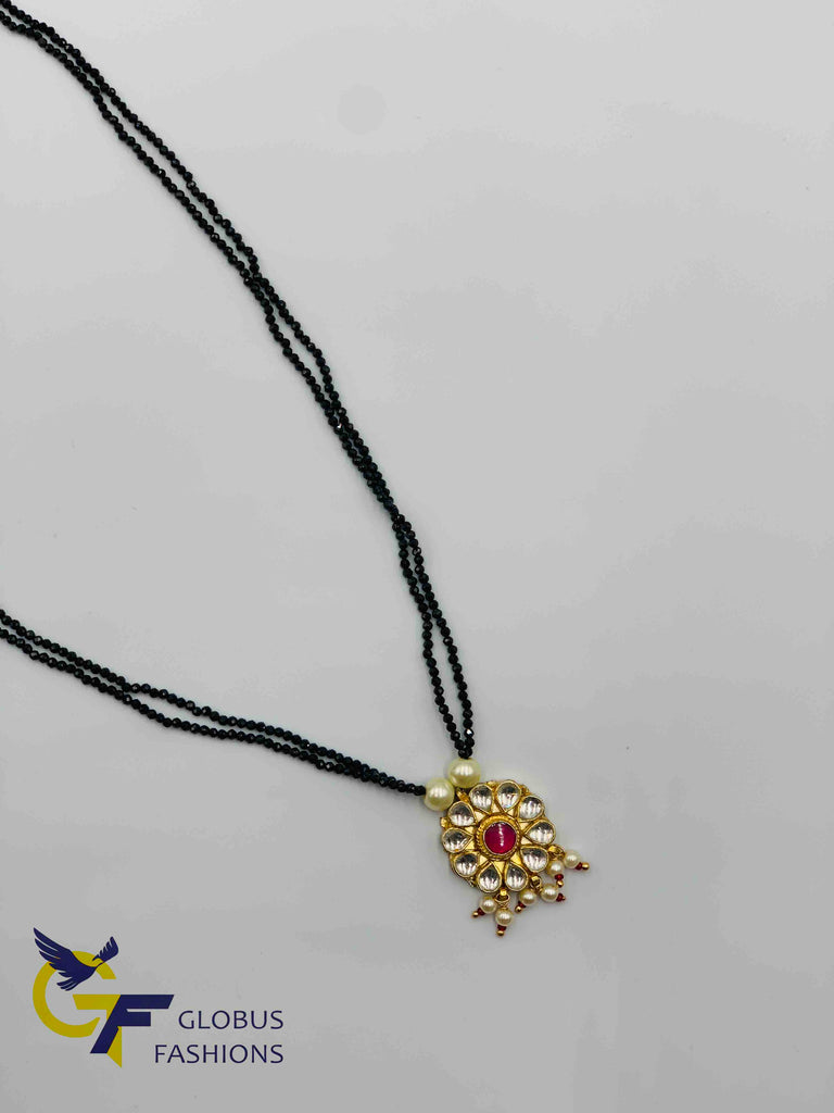 Black diamond beads chain with kundan stones pendant