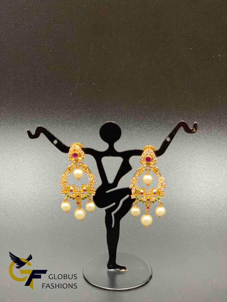 Multicolor stones with pearls peacock design chandbali earrings