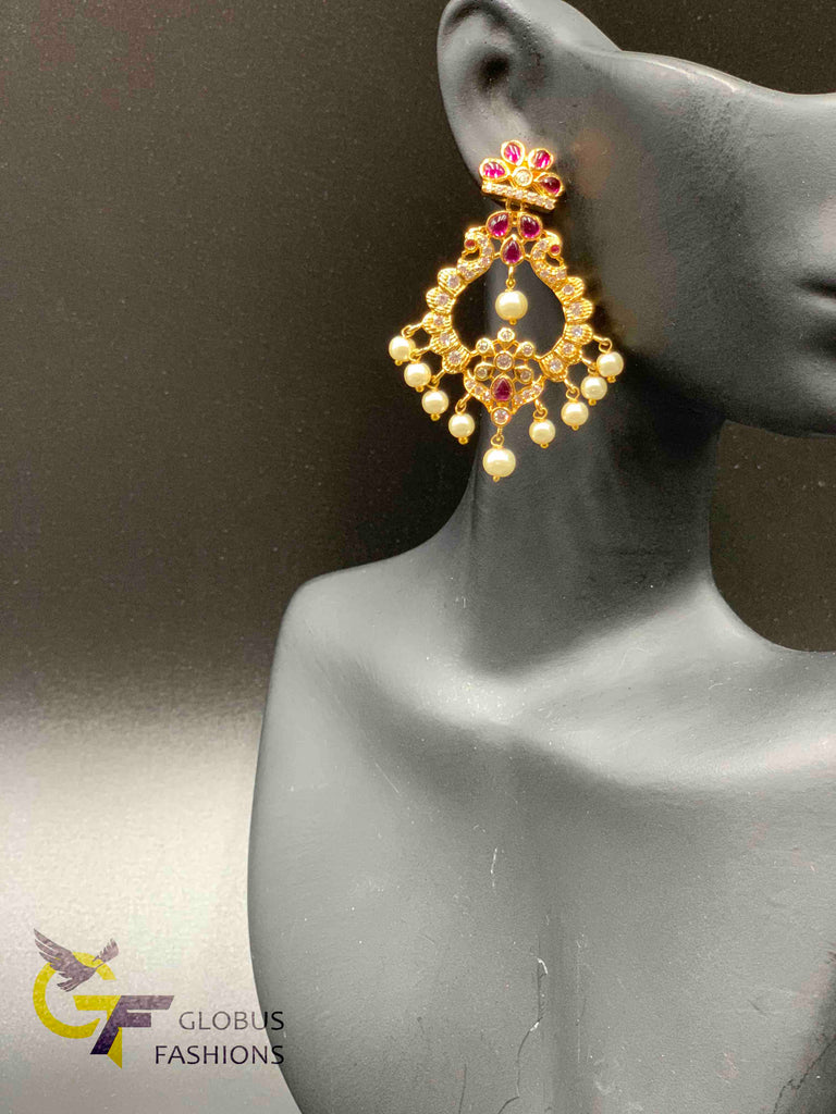 Traditional ruby and ca stones with pearls chandbali earrings