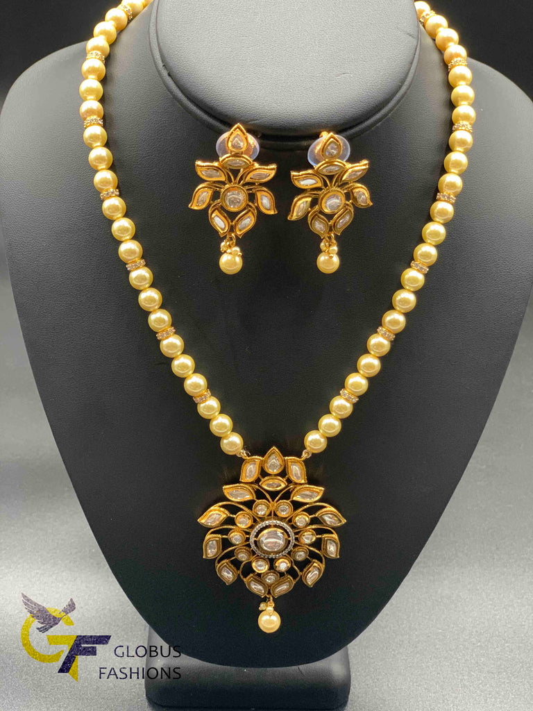 Natural and real pearls chain with real Kundan stones necklace set