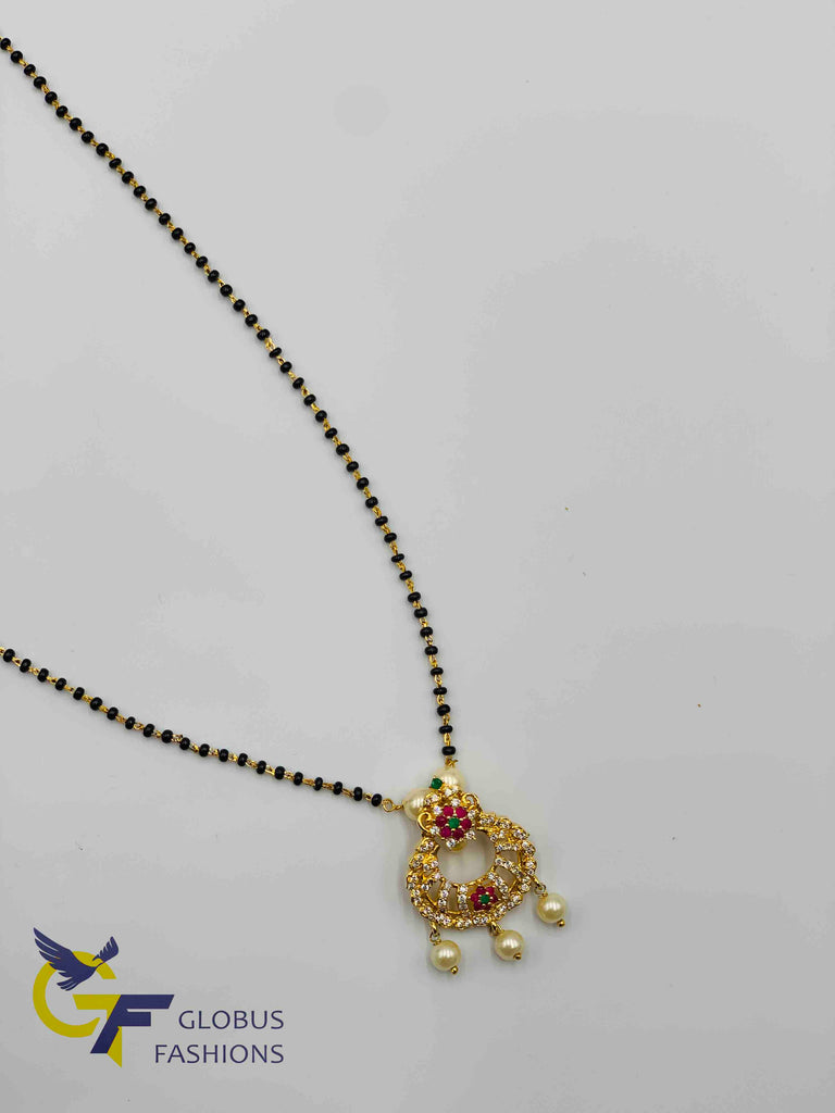 Multicolor stones with pearls pendant with a single line black beads chain