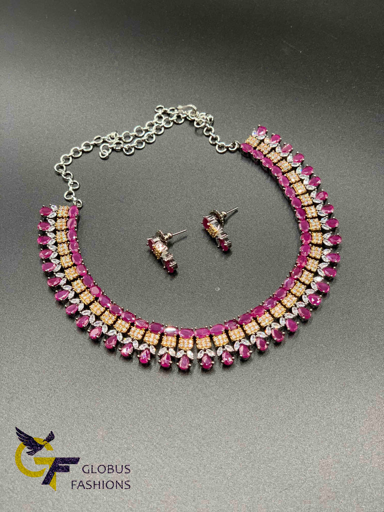 Beautiful oxidized German silver multicolor stones and ruby stones necklace sets