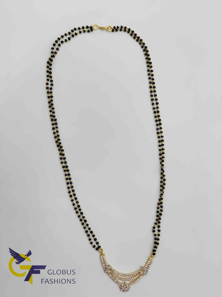 Cz stones pendant with double line black beads chain