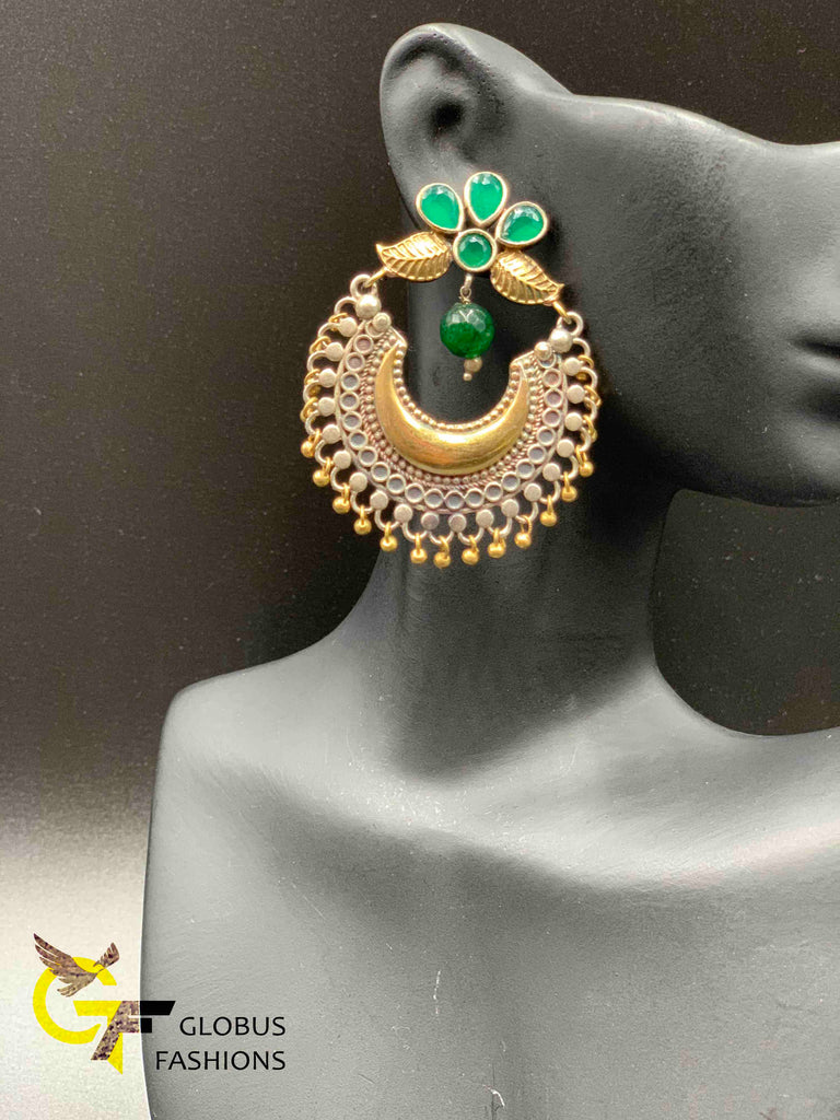 Emerald stones German silver chandbali type earrings