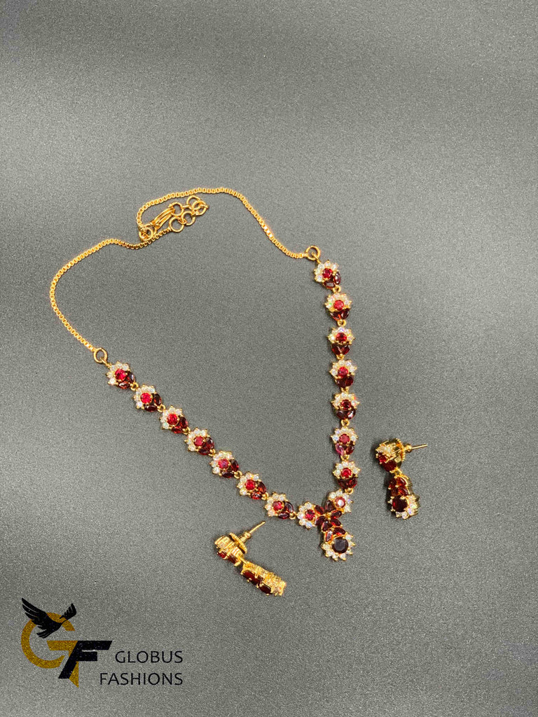 Maroon color stones with cz stones necklace set