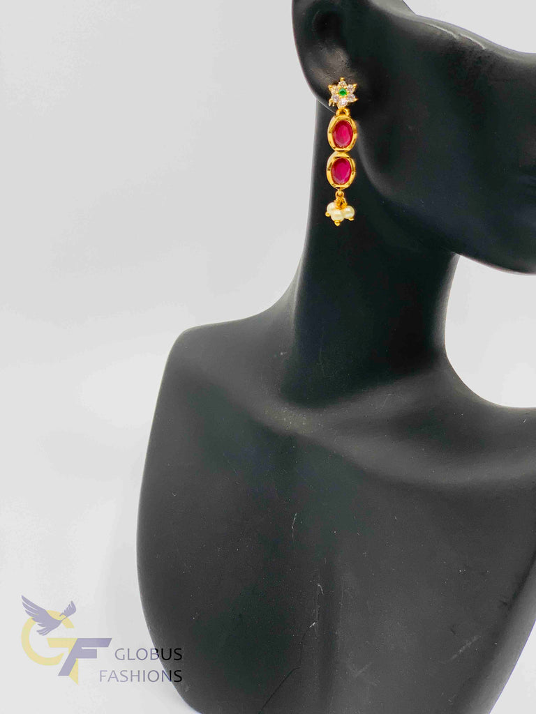 Multicolor stone and pearls pendant with braided black silk thread chain and matching earrings